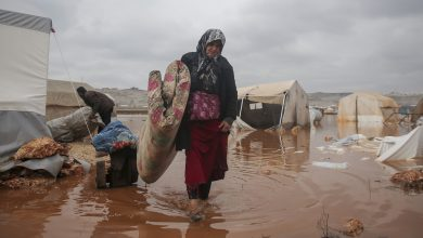 Photo of Tens of thousands in northwest Syria lose shelter after floods inundate camps